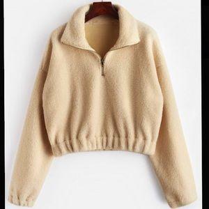 Tan Half Zip Plain Faux Fur Sweatshirt